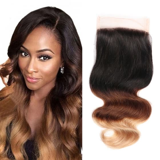 1 Pcs 4*4 Lace Closure Ombre body Wave Hair Brazilian Virgin Human Hair Extensions body wave Lace Closure