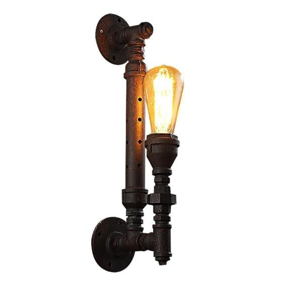 BOKT Minimalist 1-light Industrial Steampunk Water Pipe Porch Wall Lamp Vintage Rustic Metal Wall Sconces Painted Finish Rust