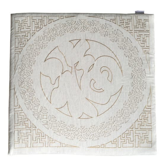 Nobildonna Linen Embroidery Square 60*60*3cm Chinese Character FU Meditation Cushion Chair Pads Floor Cushions