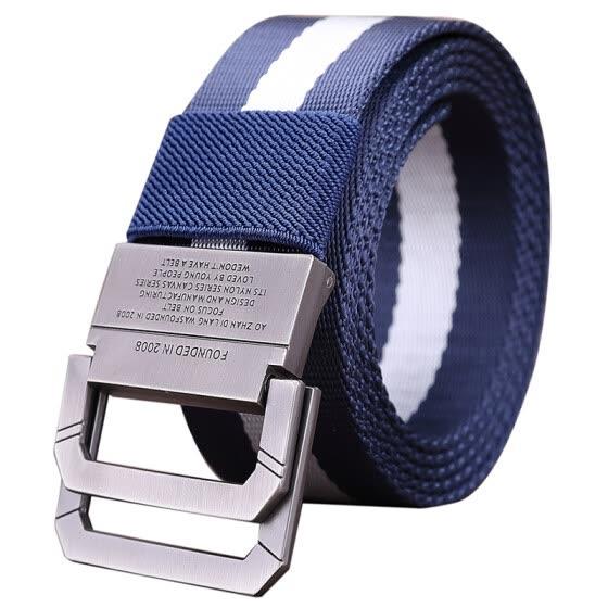 Half cigarette canvas belt men's belt smooth buckle youth Korean version of the belt buckle buckle casual outdoor students B-170536 blue and white 115