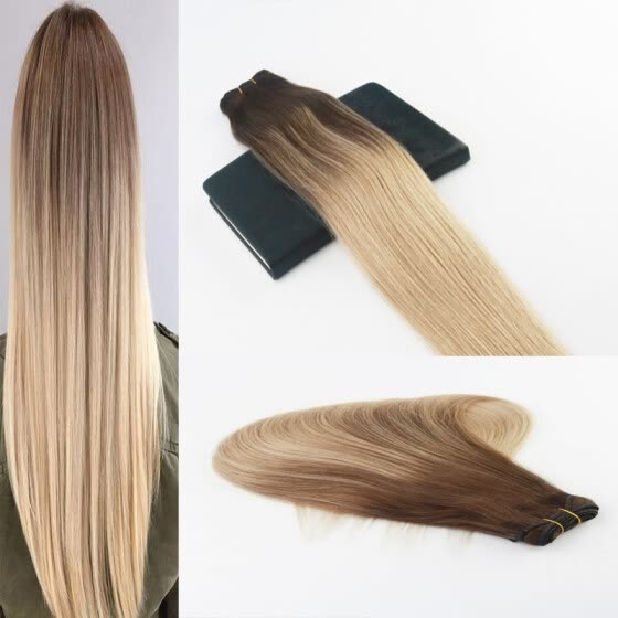 Balayage Color 4/18 Best Selling Virgin Hair 100G Per Bundle Straight Human Hair Weft Extensions