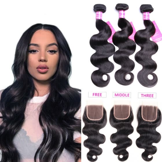 Bling Hair Brazilian Virgin Hair Body Wave 3 Bundles with Closure Free/Middle/Three  7A Grade 100% Unprocessed Human Hair Weave