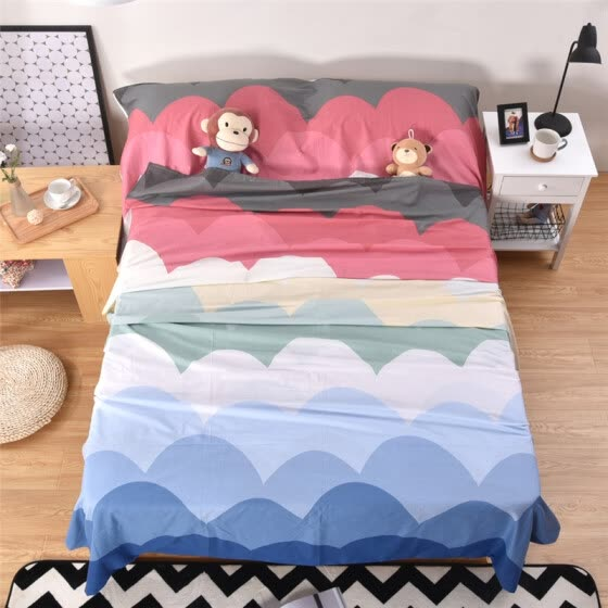 Banzhini outdoor portable cotton sleeping bag dirty liner hotel travel cotton sanitary sheets quilt cover rainbow color single 800*2280 mm