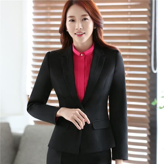 Women Long Sleeve Slim Fitted Work Suit Blazer Office Jacket 2017 Winter Spring Autumn OL Elegant Outwear Top Blszer Plus Size