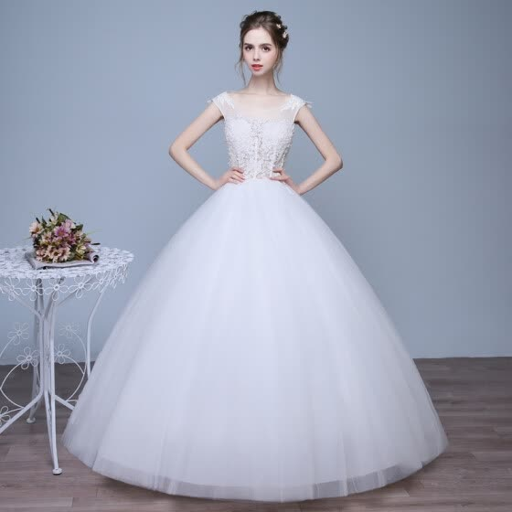 Ball Gown Jewel Neck Floor Length Tulle Wedding Dress with Beading by Huaxirenjiao
