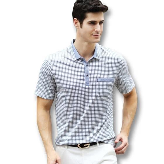 Shop 2016 New Men Summer Short Sleeved Plaid Polo T Shirts
