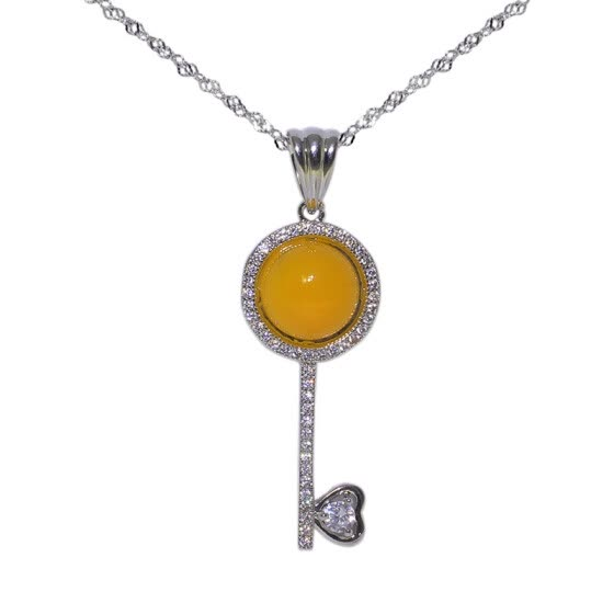 JingTian jewelry S925 silver inset agate necklace girl's collarbone chain key pendant