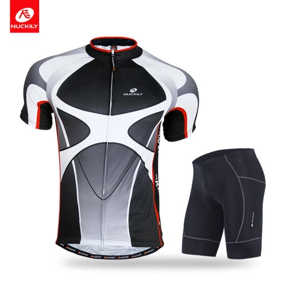 NUCKILY Men's summer bike clothing set quick-drying cycling jersey with lycra short