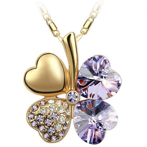 Four Leaf Clover Necklaces Pendant Heart Austria Crystal 18K Gold Plating Vintage Fashion Jewelry For Women 900