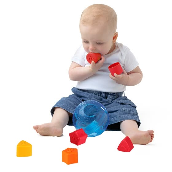 Playgro sent Gaole puzzle toys early childhood enlightenment building blocks figure shape matching small naughty crystal ball blue Australia imported more than 6 months