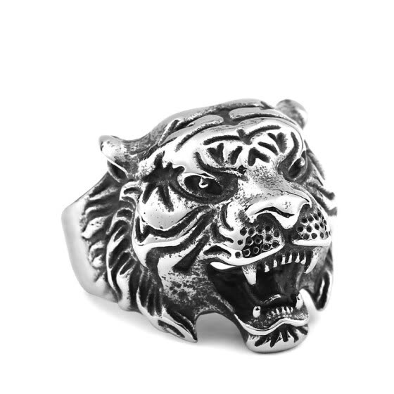 Vintage 316L Stainless Steel Titanium Tiger Head Ring Men Personality Unique Men's Animal Jewelry US size