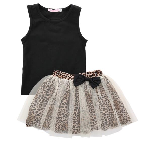 Baby Girls Printed T-Shirt Tutu Dress Skirt Outfits 2Pcs Sets Casual Costume