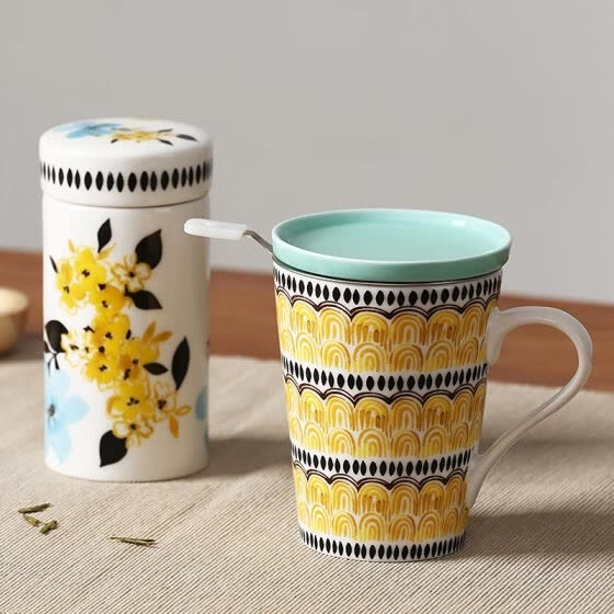 A Ting Creative fashion ceramic tea, cup sealed tea pot, cover with filter, tea cup, water cup