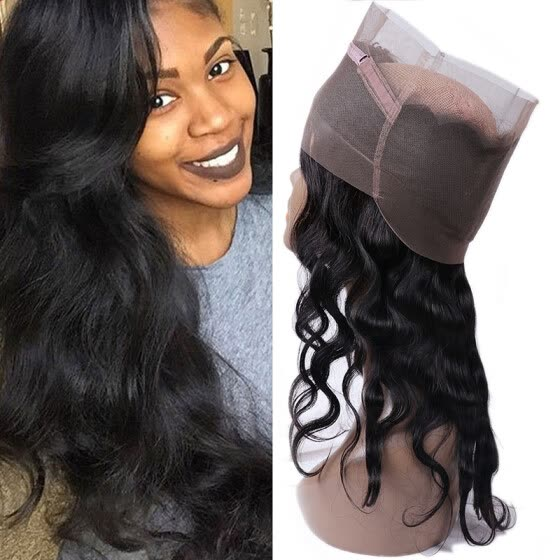 360 Lace Frontal Closure Malaysian Virgin Remy Human Hair Body Wave and Natural Color