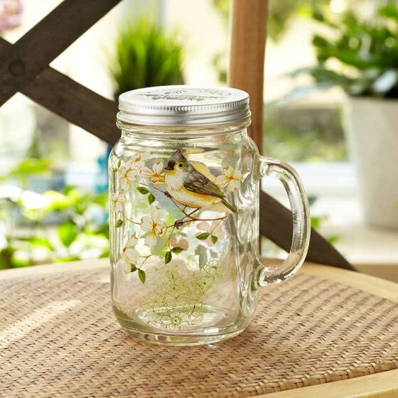 A Ting Glass Mason Jar with Handle and Lid 23 oz.