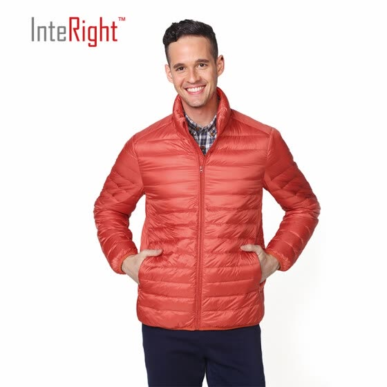 INTERIGHT 90 white duck down men collar ultra-light portable down jacket orange M code