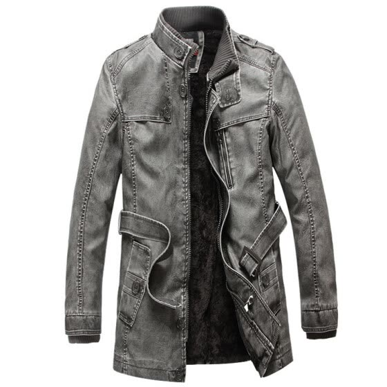 Fashion Men's leather jackets brand men standing collar and long sections Slim washed velvet coat locomotive Piga