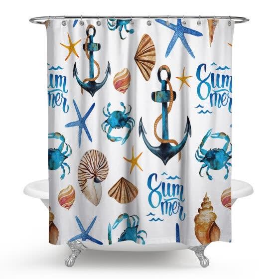 Kids Bathroom Shower Curtain Set With Hooks