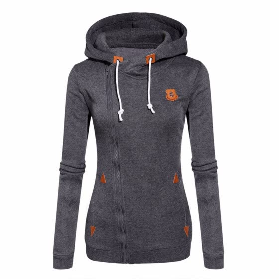 Women Autumn winter Long Sleeve Heaps Collar Hooded Hoodies Draw Cord Pocket Pullover Sweater Coat (Black,Blue,Green)