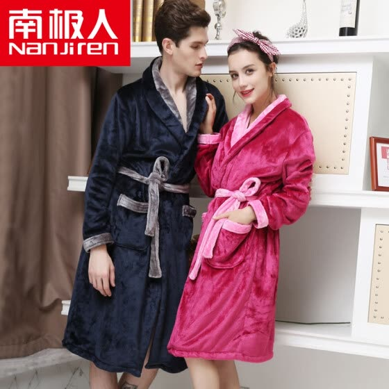 a543a8ad37 Antarctic pajamas home service thicker flannel long sleeves bathrobes  couple pajamas men and women fall and