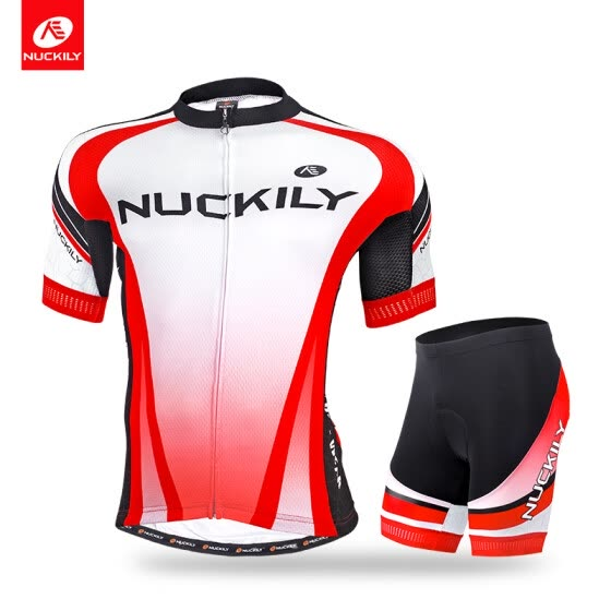 NUCKILY Men's summer custom made bicycle jesery set short sleeve jersey and foam padding short sportswear