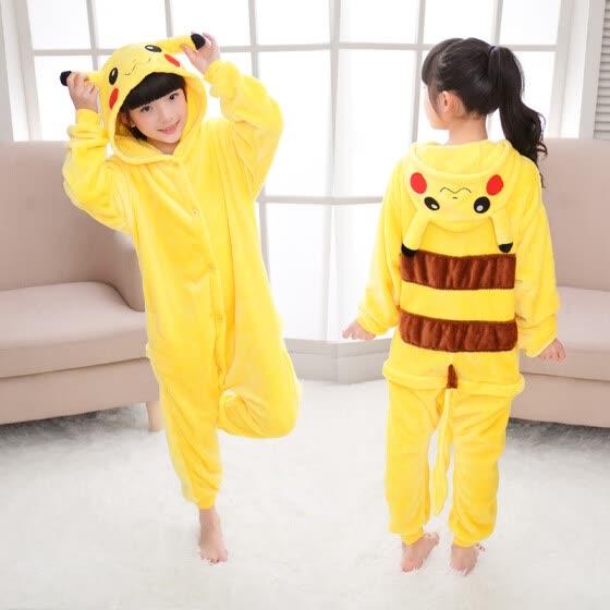 детей Pokemon Pikachu пикачу теплый мягкий Cosplay пижама хэллоуин костюмы 27204b5308c02