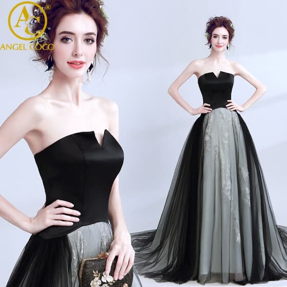 43c3963a3d820 Sexy Black Evening Dress Long Vintage Elegant Sleeveless Lace Satin Party  Gown Prom Dresses Women Backless