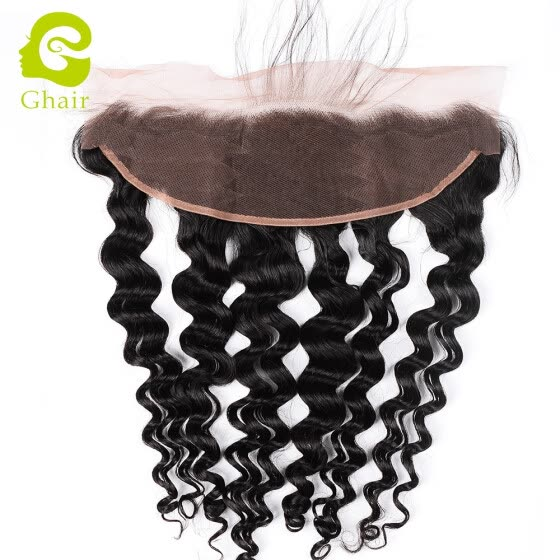 Ghairs Hot sale Peruvian Virgin Remy Hair Natural Color Loose Deep Wave 13*4 Lace Frontal