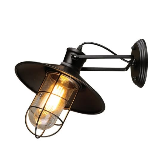 BOKT Minimalist Loft Black Industrial Adjustable Wall Sconces with Glass Shade Ceiling Lightings