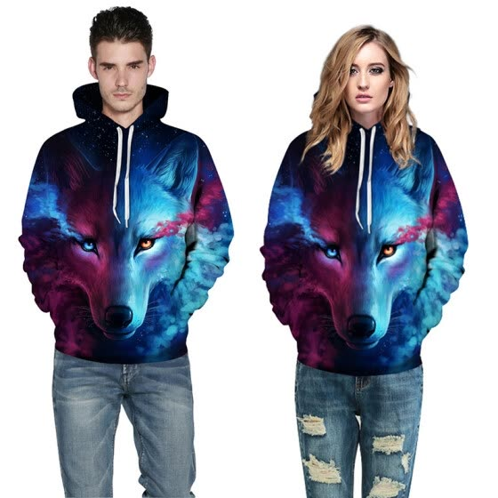 Cool Wolf Print Autumn Winter Fashion Casual Men Women Couple Hoodie Tops Long Sleeves Hooded Front Pocket Sweatshirts Pullovers