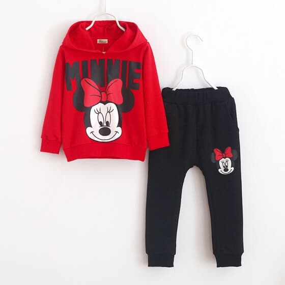 2pcs Baby Girls Kids Minnie Mouse Clothes Coat+Pants Oufits Sweatsuit 2-7Y Sport