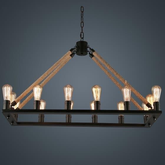 Bokt 16 Lights Hemp Rope, Country Style Chandelier