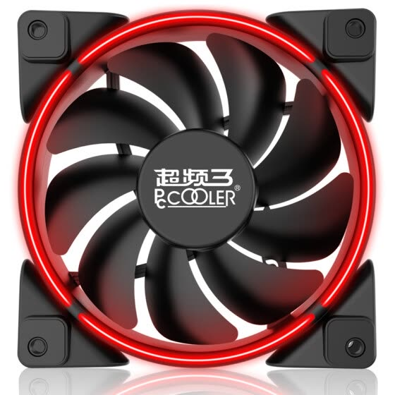 Overclocking three (PCCOOLER) Haoyue 12CM red chassis fan (water cooling heat / computer power supply fan / CPU fan / shock absorption mute / donate 4 screws)