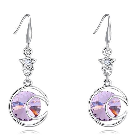cc5733fb5a11 Los Rhinestones de cristal austriaco cuelgan el pendiente del oro blanco  plateado estrella de la luna