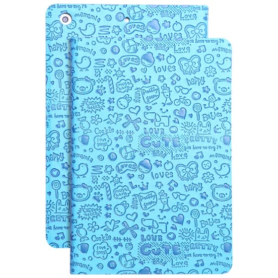 Biya Zi (BIAZE) Apple iPad Mini2 / 3/1 protective cover / shell light shatter-resistant smart sleeping holster small witch series PB01-blue