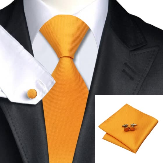 N-0356 Vogue Men Silk Tie SetOrange Solid Necktie Handkerchief Cufflinks Set Ties For Men Formal Wedding Business wholesale