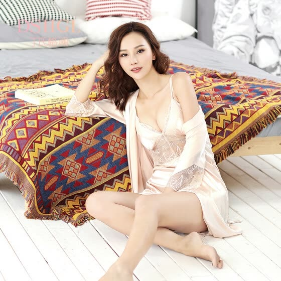 bd1629c74 Ding s grate pajamas women s silk lace autumn hollow nightdress ice silk two -piece sexy home