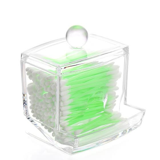 Clear Acrylic Q-tips Cotton Swabs Holder Cotton Bud Storage Box - Cosmetic Organizer For Cotton Pads, Cotton Swabs, Make Up