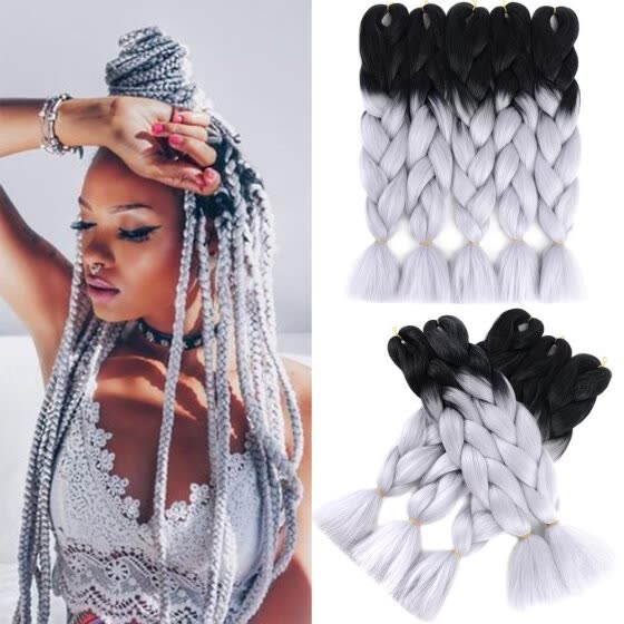 Shop Two Tone Ombre Synthetic Braiding Hair Extension 5pcs Lot 24