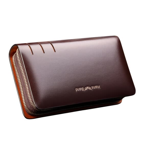 HansBand® 2015 Hot Genuine Leather Men Wallets Business Brand Card holder Coin Purse Men's Long Zipper Wallet Leather Clutch Bag