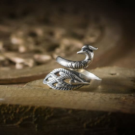 Luo Linglong 925 sterling silver feathers diamond ring ring personality retro couple ring creative fashion ring