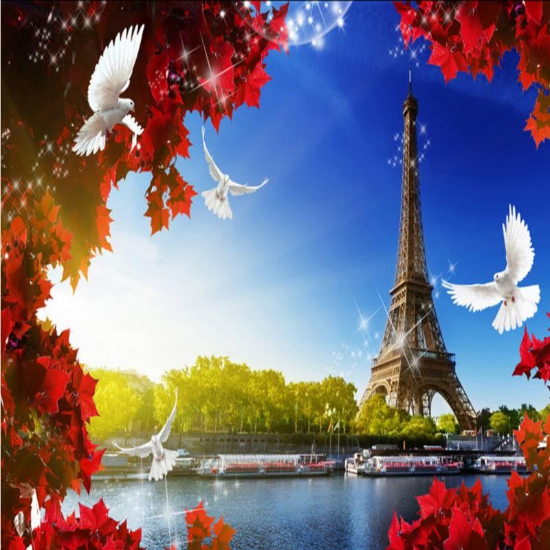 Shop Custom Photo Wallpaper Eiffel Tower Leaf 3D France