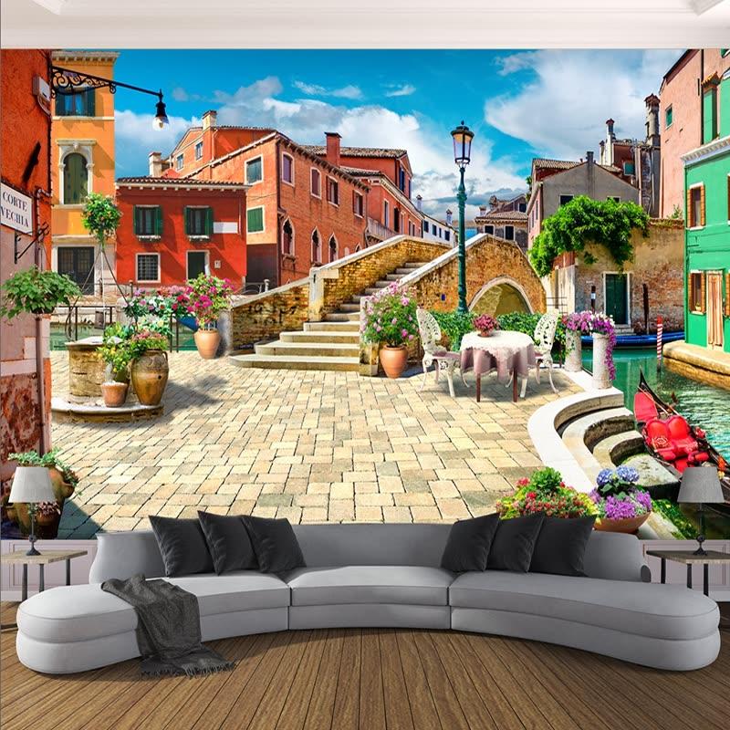 shop custom 3d photo wallpaper large mural european town city street