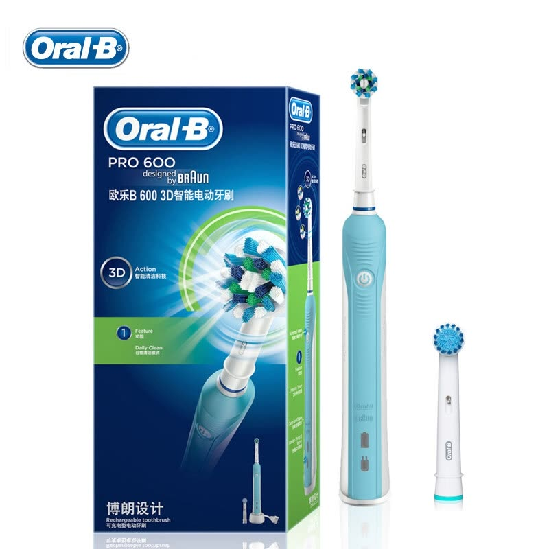 Braun Oral B D16.523 Electric Toothbrush (1 holder+2 heads) Genuine Rechargeable Tooth Brush from German Deep Clean