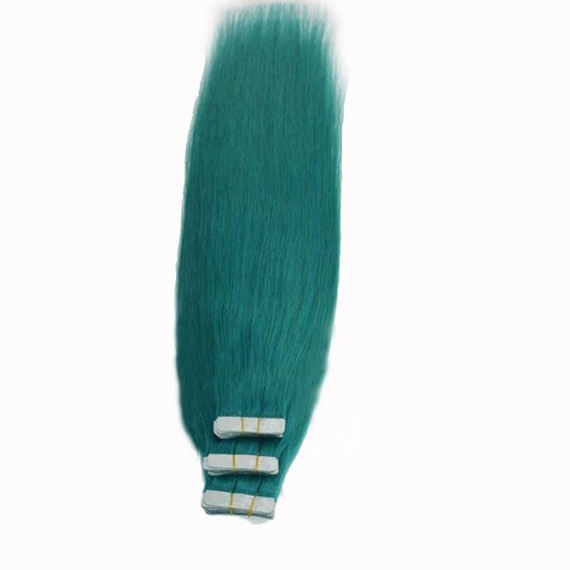 18tape Pu Green Hair Extensions Human Hair Silky Straight Glue In