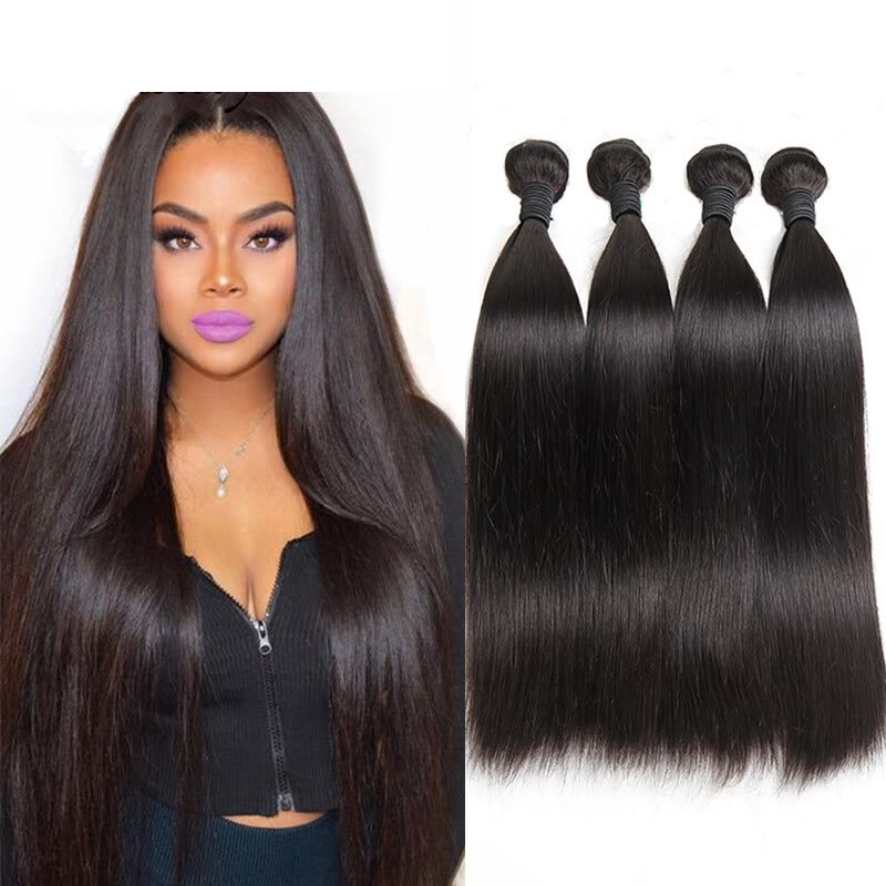 Shop 10a Unprocessed Indian Virgin Hair Straight 4 Bundles Muse