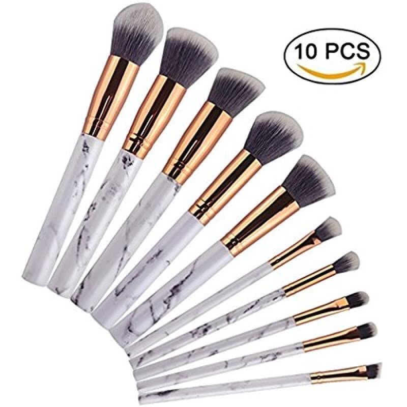 85653d9e520 Shop Diow Makeup Brushes 10Pcs Marble Pattern Powder Eyeshadow Face  Foundation Eyebrow Makeup Brush Set Online from Best Makeup Brushes &  ...