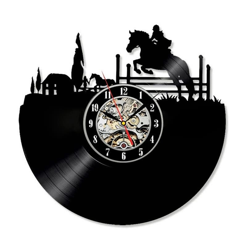Equestrian Design Rider Theme Wall Art Vinyl Record Clock Bedroom Decorating Ideas