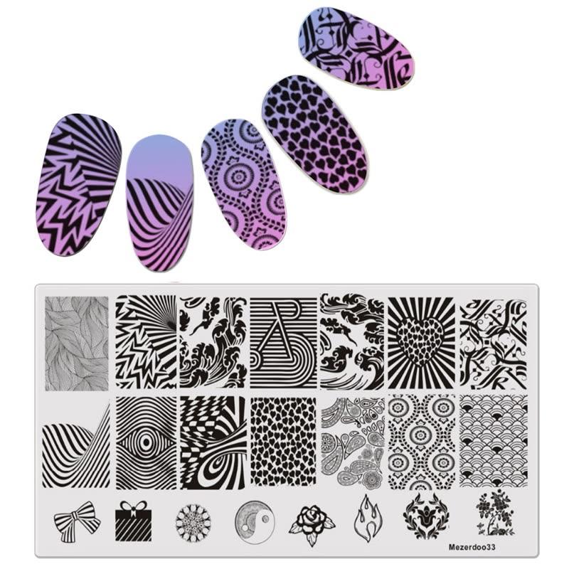 DIY Geometric Patterns Disk Nail Art Image Plate Stamping Template ...