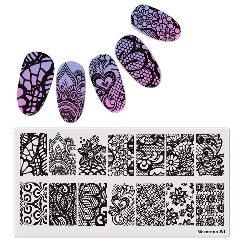 Mezerdoo Nail Art Stamp Template Rectangle Gorgeous Lace Vine Net ...